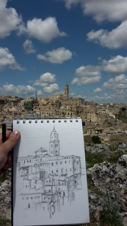 beautiful Matera - graphite sketch watersoluble A5